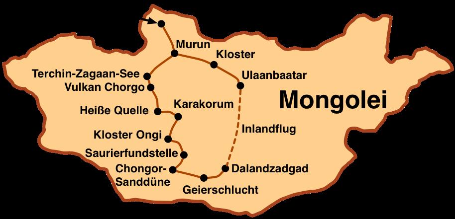 Karte: Große Mongoleireise