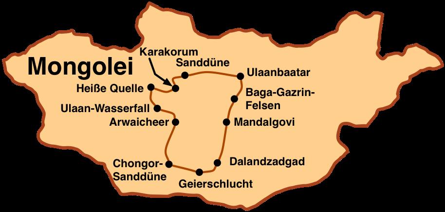 Karte Reit- und Geländewagentour