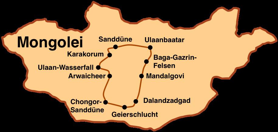 Karte Rundreise in die Gobi