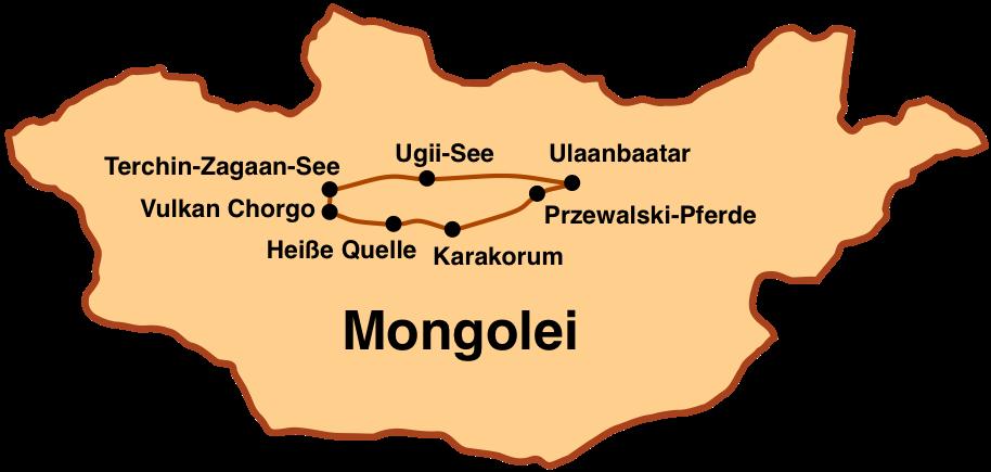 Karte Mongolei-Reise: Kurzreise 7 Tage