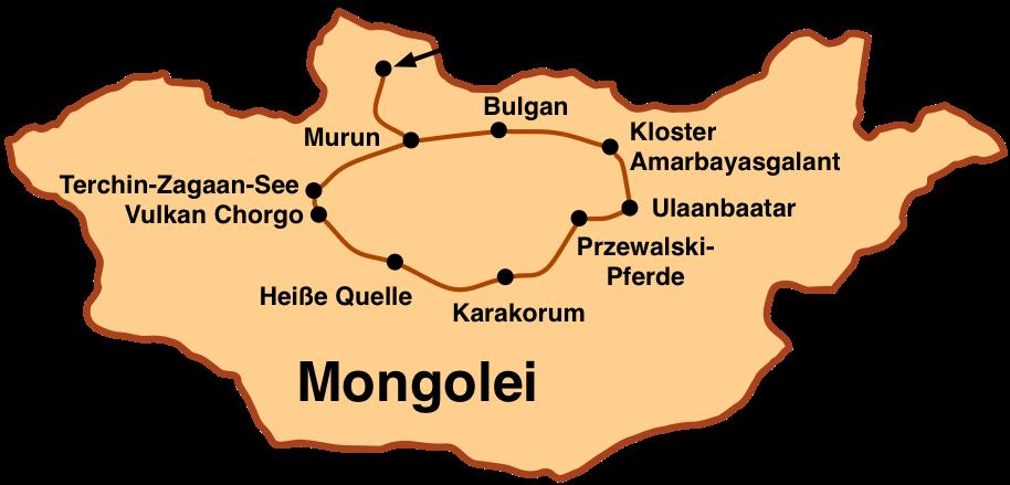 Mongolei-Reise: Karte Steppe und Taiga