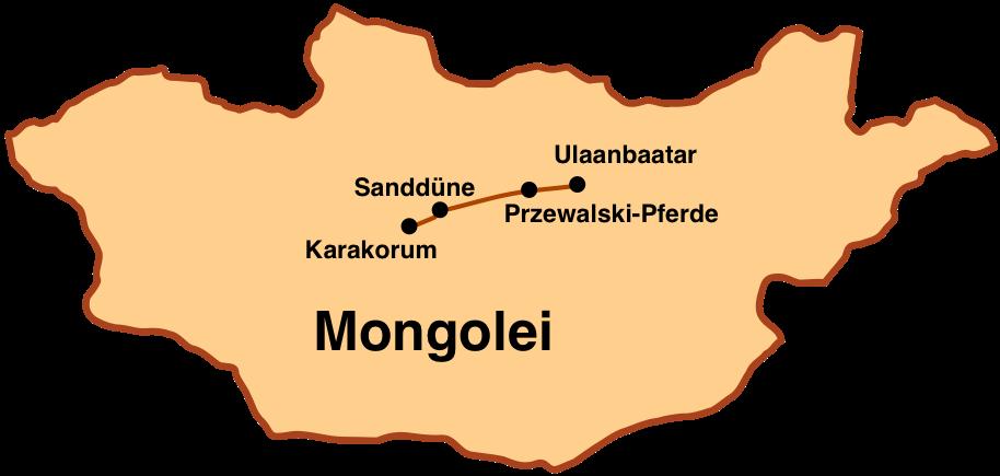 Mongolei-Reise: Karte Kurzreise 4 Tage
