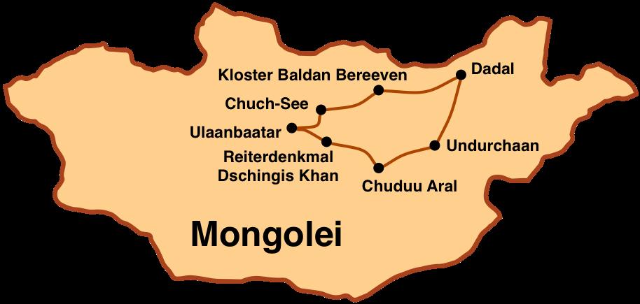 Karte Mongolei-Reise: Chentii - der Osten