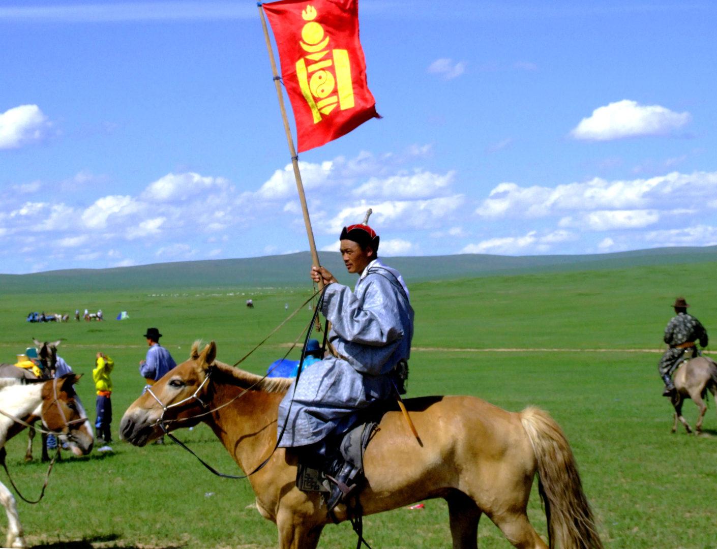 Mongolei Reisen: Mongolische Flagge