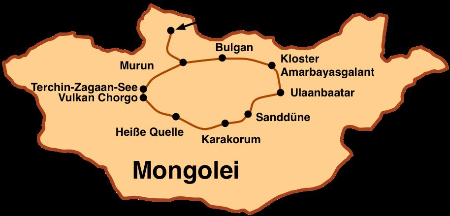 Karte Reise Chuwsgul - der Norden