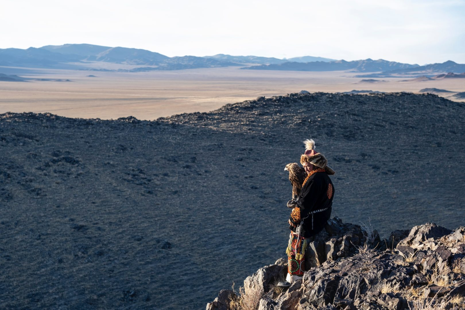 Mongolei-Reise: Kasachischer Adlerjäger in Tracht
